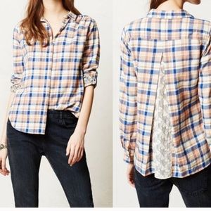 Anthro's Isabella Sinclair Altay plaid lace shirt
